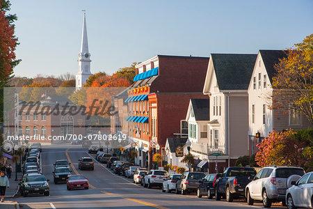Main Street in autumn, Camden, Maine, USA