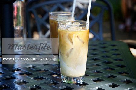 Two Iced Coffees on Patio Table, Dundas, Ontario, Canada