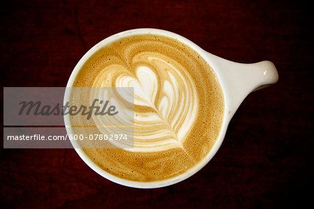 Overhead View of Latte with Latte Art in Foam