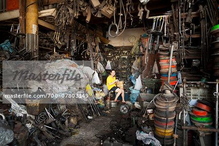 Scrap iron shop, Phnom Penh, Cambodia, Indochina, Southeast Asia, Asia