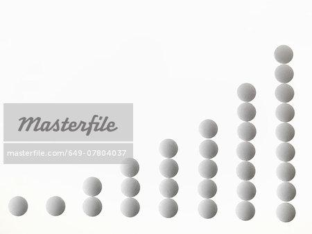 Scaled stacks of white pills