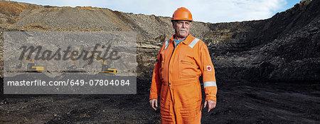 Portrait of mature quarry worker in quarry site
