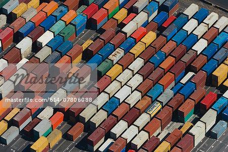 Aerial view of angled multi color cargo containers, Port Melbourne, Melbourne, Victoria, Australia