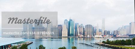 Panoramic view of Lower Manhattan skyline, New York, USA
