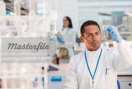 Scientist examining sample in test tube in laboratory