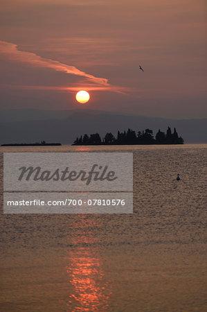 Sunset over Lago di Garda in Autumn, Italy