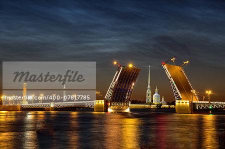 Neva river. Palace Bridge, Peter and Paul Cathedral.
