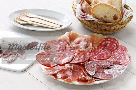 various types of  spanish salami, sausage and ham.