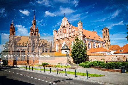 St. Anne's Church and Bernardine Monastery in Vilnius, Lithuania, polarazing filter applied
