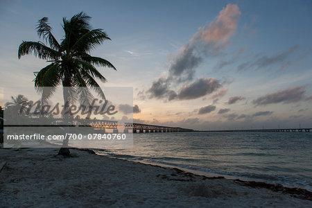 Scenic view of beach and Bahia Honda Rail Bridge at sunset, Bahia Honda, Florida Keys, Florida, USA