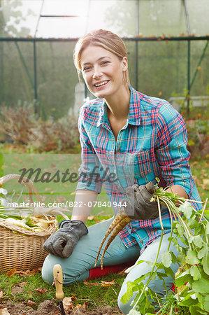 Woman in Garden Digging up Parsnips