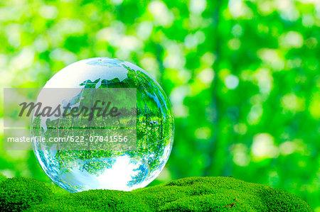 Glass globe in a park