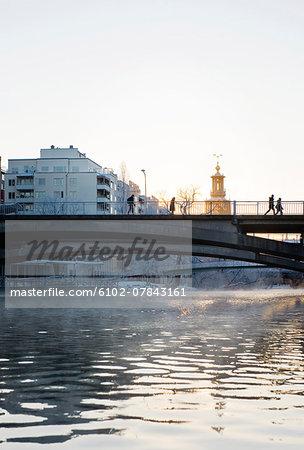 People on bridge in Stockholm