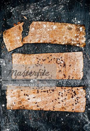 Crispbread on metal sheet, directly above