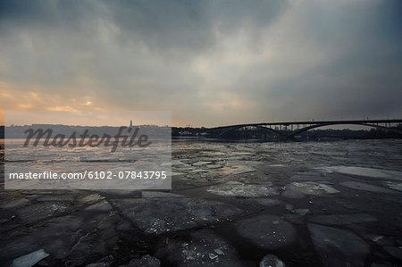 Ice float at dusk