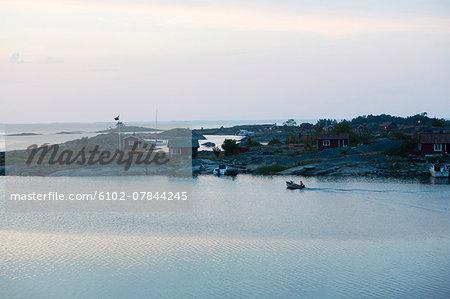 Motorboat near coast