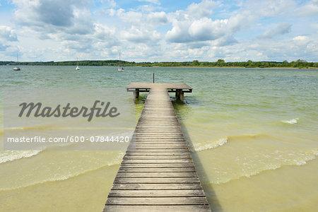 Wooden Jetty, Stegen am Ammersee, Lake Ammersee, Fuenfseenland, Upper Bavaria, Bavaria, Germany