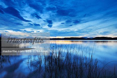 Lake at Dusk, Bannwaldsee, Fuessen, Bavaria, Germany