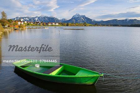 Rowboat on Lake, Hopfen am See, Lake Hopfensee, Bavaria, Germany