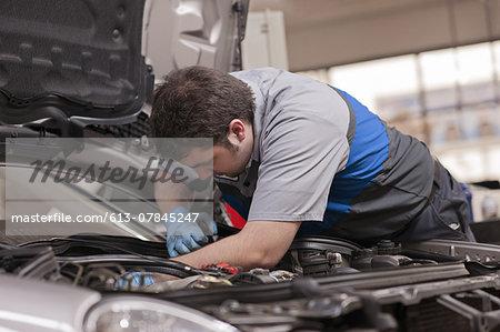 Mechanic works in engine