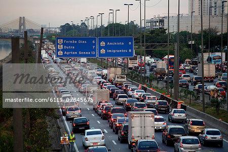 View over the Marginale of Sao Paulo, Ayrton Senna highway at rush hour, Sao Paulo, Brazil, South America