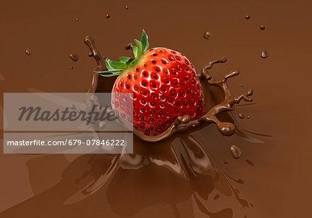 Strawberry splashing into milkshake, computer artwork.