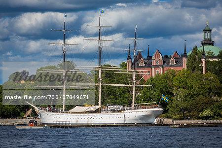 Old, tallship docked in harbour, Stockholm, Sweden