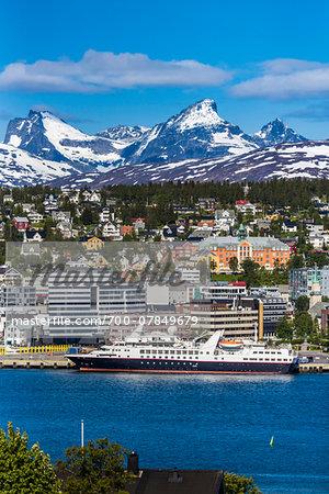 Skyline and harbour of Tromso, Troms, Northern Norway, Norway