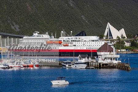 Cruise ship docked in harbour, Tromsoe, Troms, Northern Norway, Norway