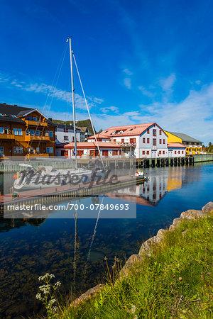 Scenic view of village and harbour, Kabelvag, Vagan, Austvagoya, Loften, Nordland, Northern Norway, Norway