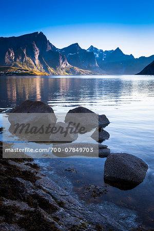 Scenic view of harbour, Hamnoy, Moskenesoy island, Lofoten Archipelago, Nordland, Northern Norway, Norway