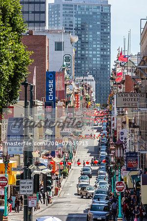 Overview of street scene, Chinatown, San Francisco, California, USA