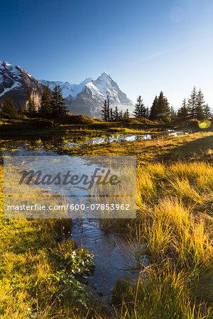 Alpine Lake and Mount Eiger at Sunset, Bernese Alps, Switzerland