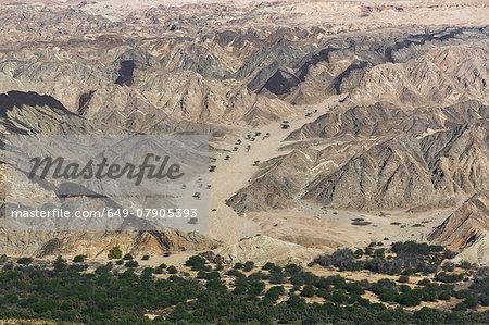 Aerial view of desert and rocks, Moon Valley, Namib Desert, Namibia