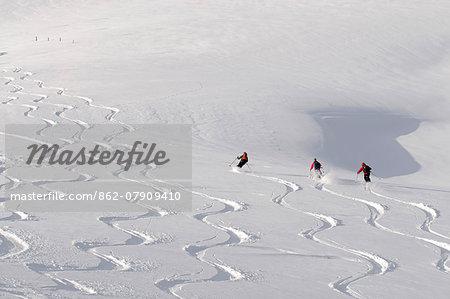 Deep powder snow, Skiing, Tyrol, Austria