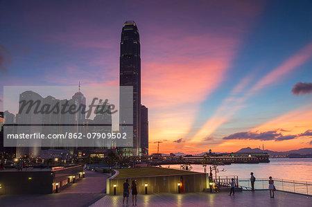 Tamar Park and skyscrapers of Central at sunset, Hong Kong Island, Hong Kong