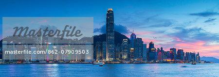 View of Hong Kong Island skyline at sunset, Hong Kong