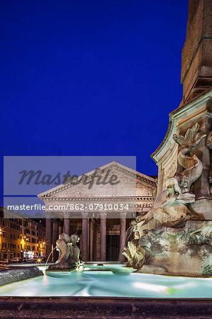 The Fontana del Pantheon  located in the Piazza della Rotonda, Rome, in front of the Roman Pantheon, Sant' Eustachio, Rome, Lazio, Italy.