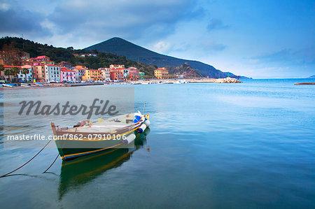 Italy, Tuscany, Elba Island. Boat in the port at Rio Marina