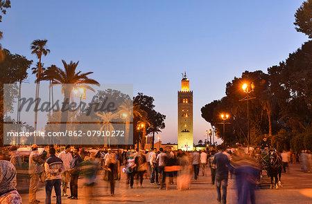 Koutoubia minaret at dusk. Marrakech, Morocco