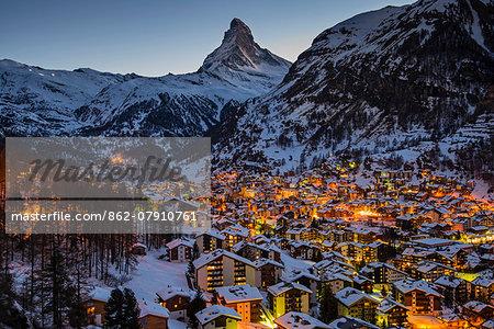 Night skyline with Matterhorn behind, Zermatt, Wallis or Valais, Switzerland