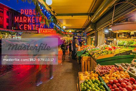 Pike Place Market in a rainy evening, Seattle, Washington, USA