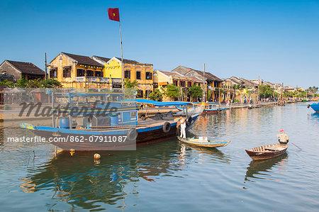Boats on Thu Bon River, Hoi An (UNESCO World Heritage Site), Quang Ham, Vietnam