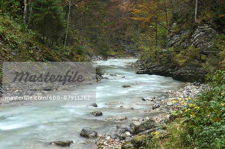 Scenic view of Partnach Gorge in autumn, Garmisch Partenkirchen District, Upper Bavaria, Germany