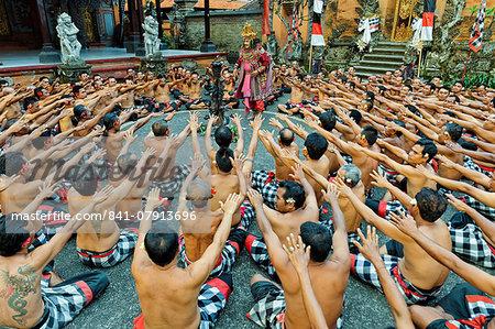 Performance of the Balinese Kecak dance, Ubud, Bali, Indonesia, Southeast Asia, Asia
