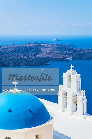 Blue dome and bell tower, St. Gerasimos church, Firostefani, Fira overlooking the Aegean Sea, Santorini (Thira), Cyclades Islands, Greek Islands, Greece, Europe