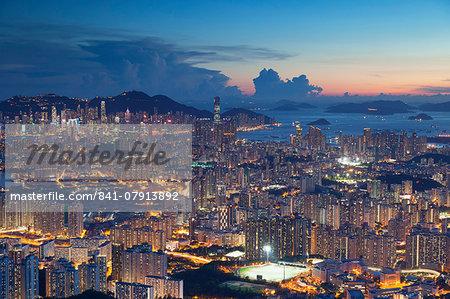 View of Kowloon and Hong Kong Island at sunset, Hong Kong, China, Asia
