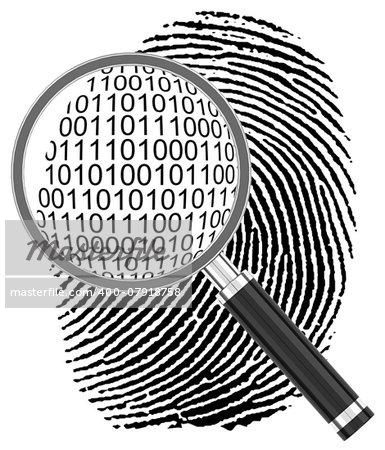 3d generated picture of a digital fingerprint