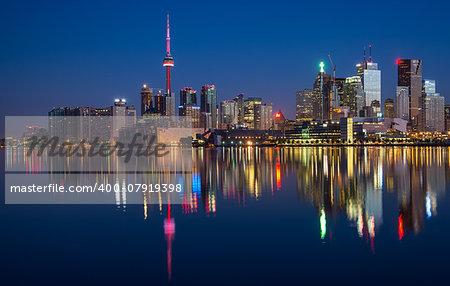 Reflection of Toronto City Skyline in Lake