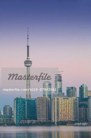 View of CN Tower and city skyline, Toronto, Ontario, Canada, North America